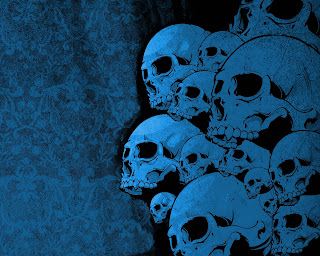 Blue Pile Skulls Dark Gothic Wallpaper