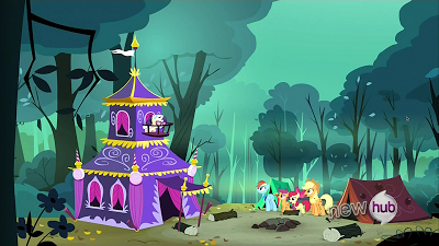 The other ponies stare at Rarity's remarkable tent