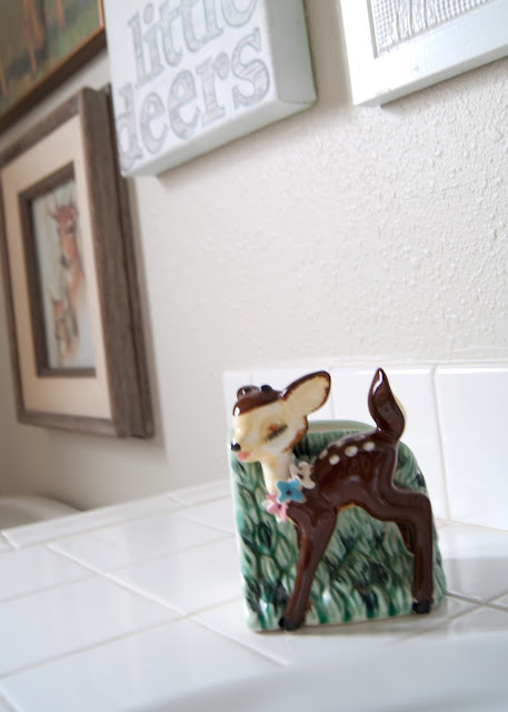 Project Kid's Bathroom Makeover - before & after -vintage deer planter as a tooth brush holder