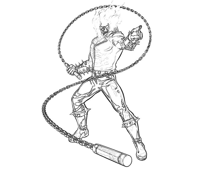 Printable Marvel vs Capcom Ghost Rider Character Coloring Pages
