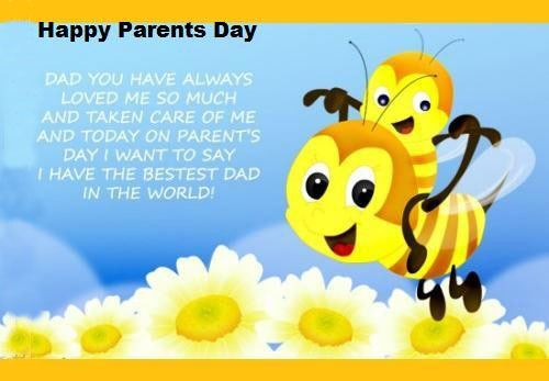 A Cute Pic With Bees, Flower And Happy Parent's Day Quote