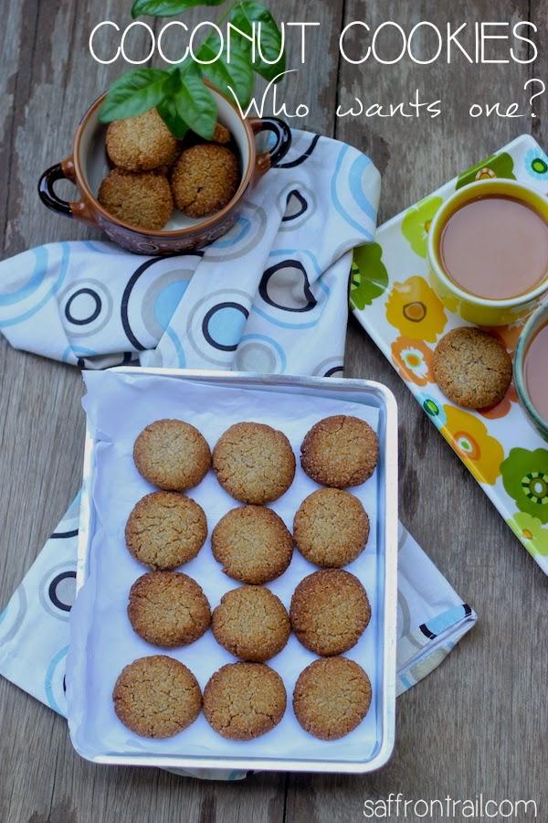 healthy coconut cookies, eggless coconut cookies