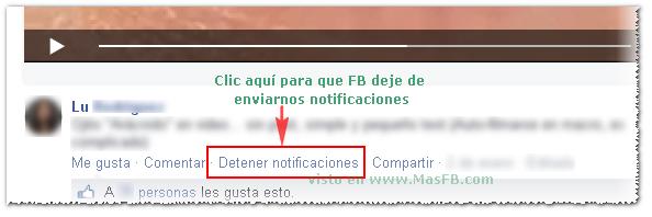 Cómo detener notificaciones sobre publicaciones en Facebook - MasFB