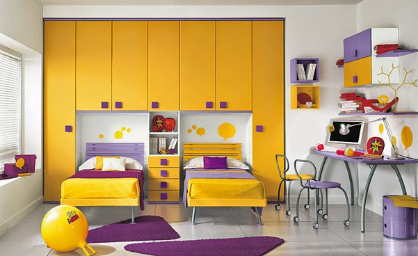 غرفة نوم اطفال باللون الاصفر والبنفسجى