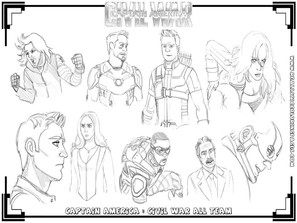 Civil War Captain America Coloring Pages Sketch Page
