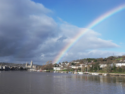 Rainbow by Truro Cathedral in Cornwall