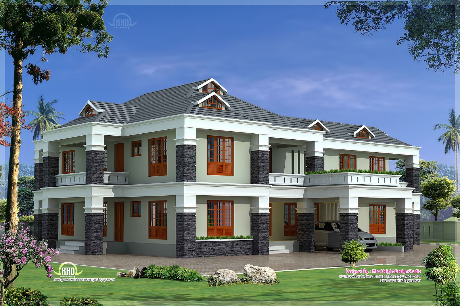 4000 luxury villa exterior kerala home design for Luxury mansion designs