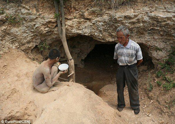 FATHER CHAINS HIS BLIND SON IN A CAVE