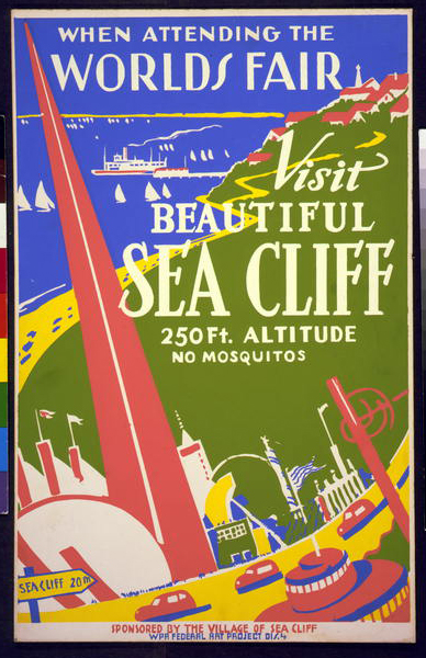 vintage, vintage posters, travel, travel posters, retro prints, classic posters, graphic design, free download, When Attending The World's Fair, Visit Beautiful Sea Cliff - Vintage Travel Poster