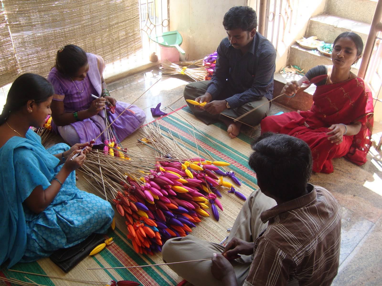 Eco green unit handi crafts made out by locally available for Best out of waste making