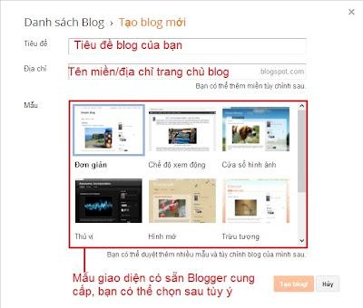 Làm quen với giao diện Blogspot - Khởi tạo