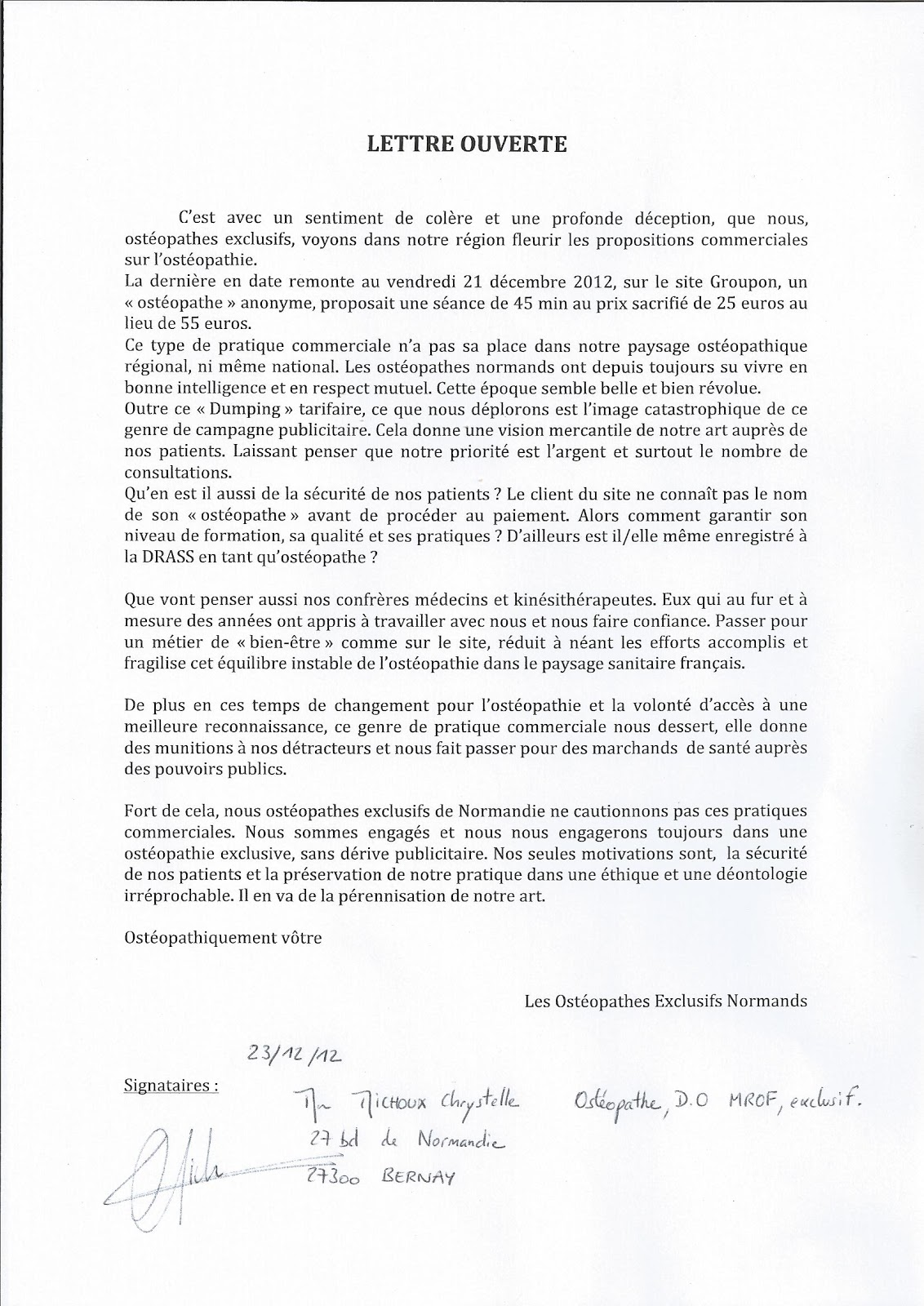 exemple lettre de motivation ecole osteopathie