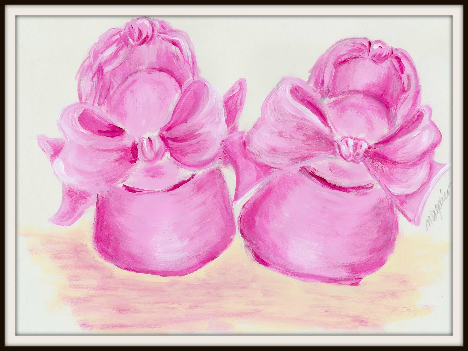 m delpino pink baby shoes painting m delpino