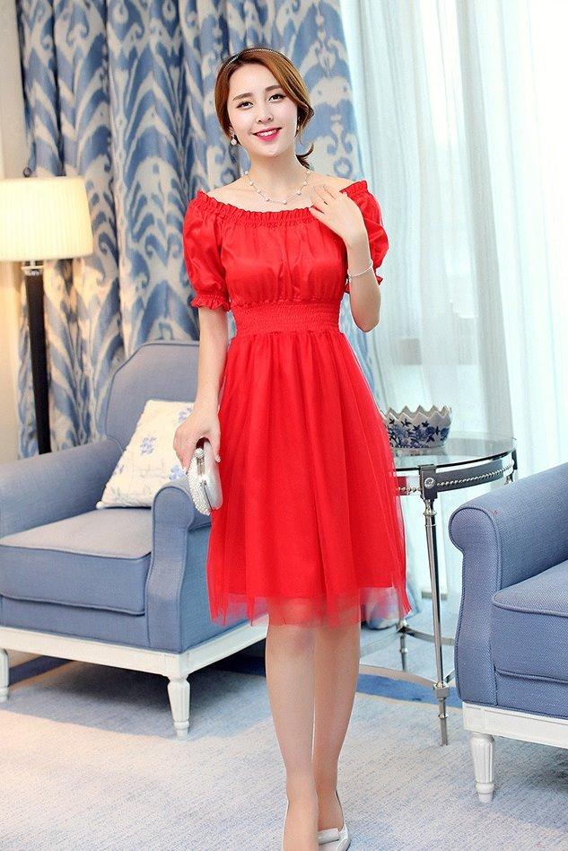 ชุดเดรสสั้น แฟชั่นเกาหลี ผ้าซาติน สีแดง