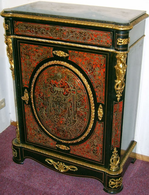 Napoleon III boulle cabinet Boulle marquetry in red tortoise shell and copper with gilt bronze