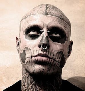 Rick Genest Zombie Boy looking upwards