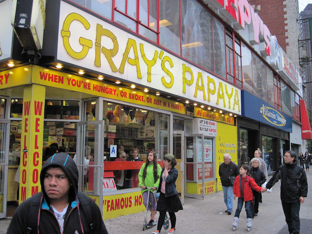 Try Gray's Papaya when dining in New York