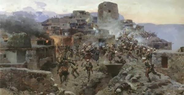 Именно так выглядели многие аулы (поселения) на Кавказе, после завоевания региона Россией