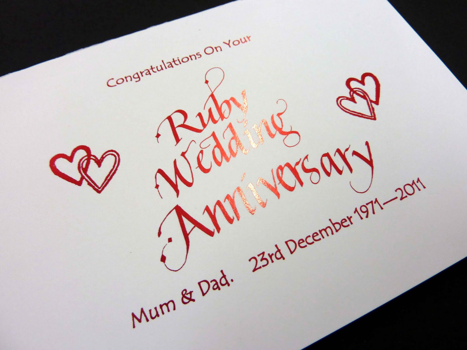 Inspired by Script: Personalised Ruby Wedding Anniversary Card