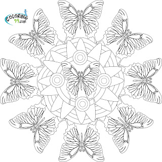 mandala butterfly coloring pages