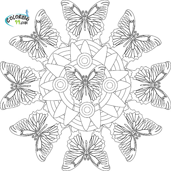 Butterfly Mandala Coloring Pages