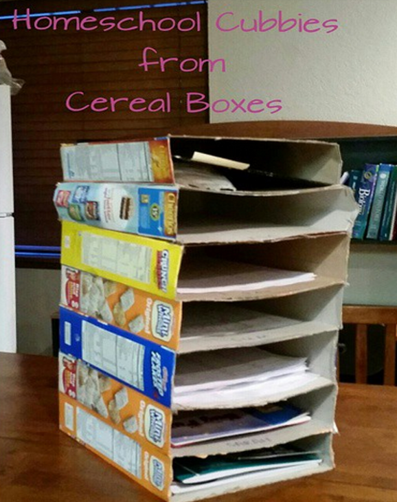 Homeschool Cardboard Box Shelves