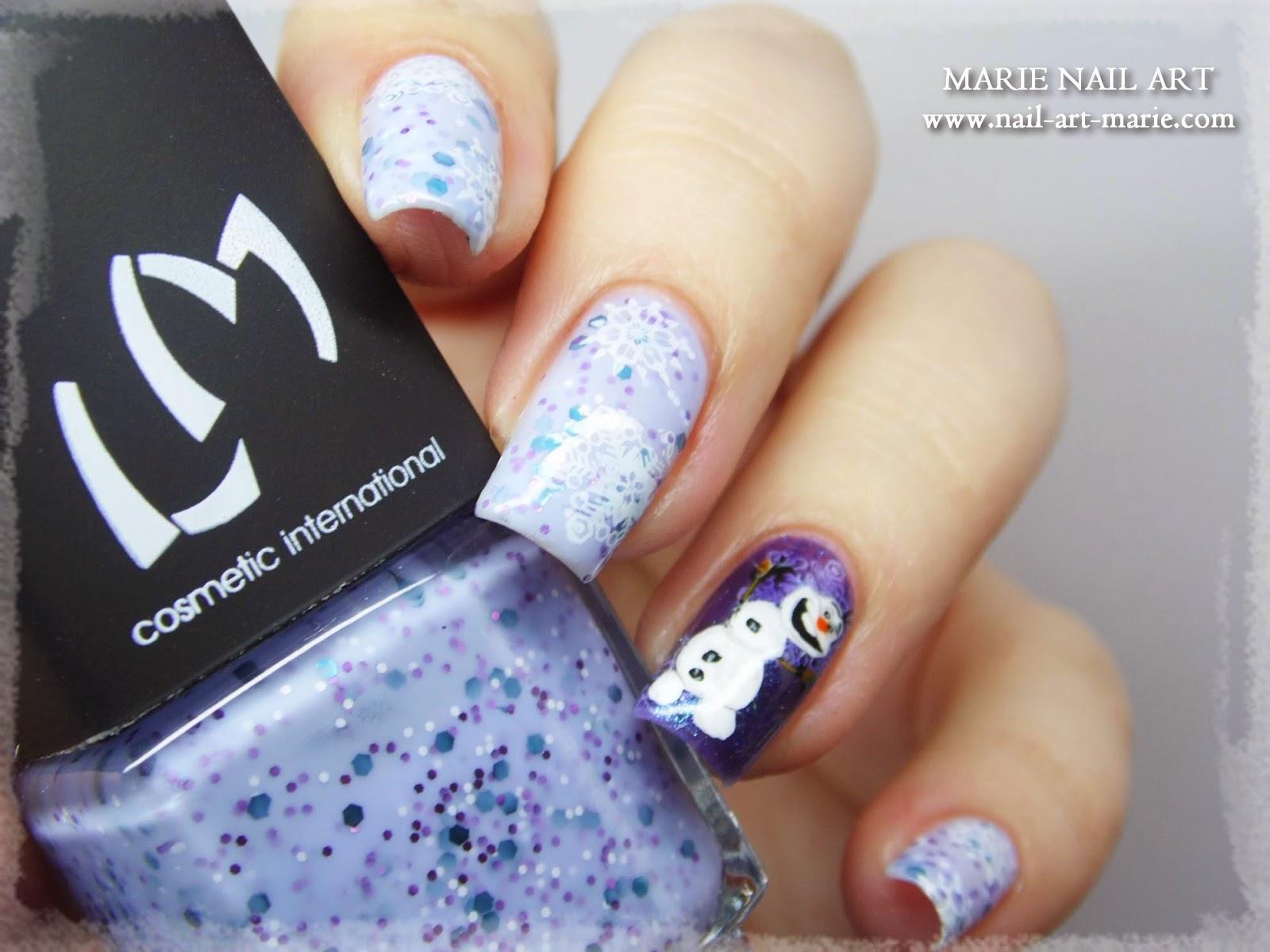 nail art reine des neige Olaf2