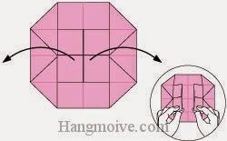Bước 8: Gấp và kéo hai cạnh giấy ra ngoài.