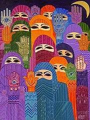 """Mujeres con la """"Mano de Fátima"""""""