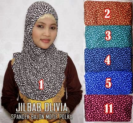 Jilbab olivia cantik model syria terbaru motif polkadot