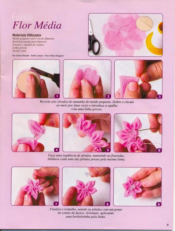 3 modelos de flores de fuxico