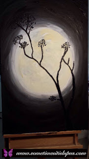 Painting of tree silhouetted against the full moon.