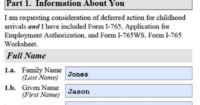 Dreamers Are Us: Completed sample USCIS Form I-821D