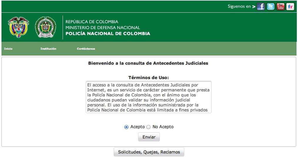 """Pasado Judicial en linea - acepta términos de uso, haciendo clic en """"Acepto"""""""