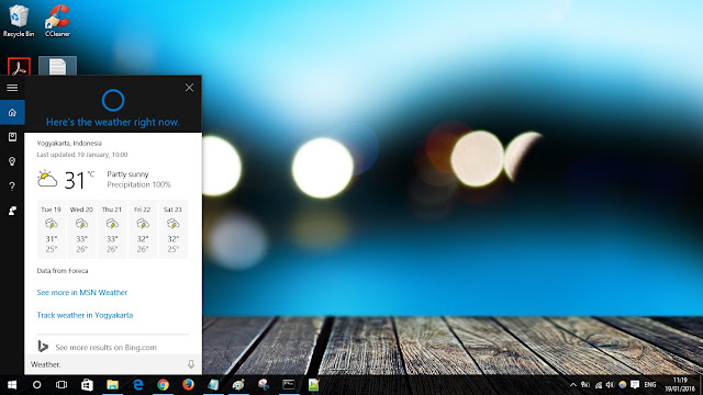 Cek cuaca cortana windows 10