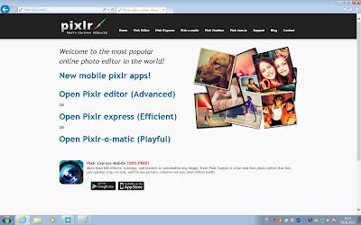 Pixlr main page