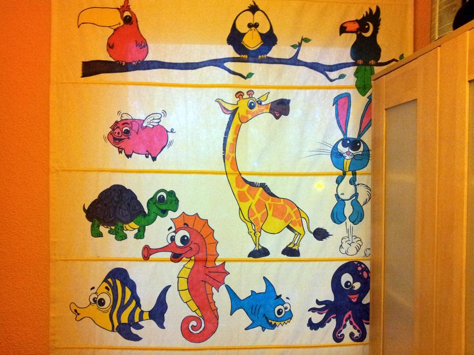 Decoraci n infantil de estor con dibujos de animales for Estores con dibujos