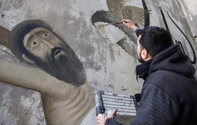 Street Art By Fikos Antonios and Simon Silaidis in the abandoned Sanatorium of mount Parnitha - Athens, Greece.2