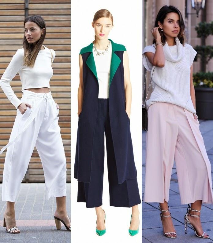 Culotttes ou calças médias tendencia primavera-verão 2015