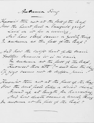 Poem Autumn Song in Dante Gabriel Rossetti own handwriting
