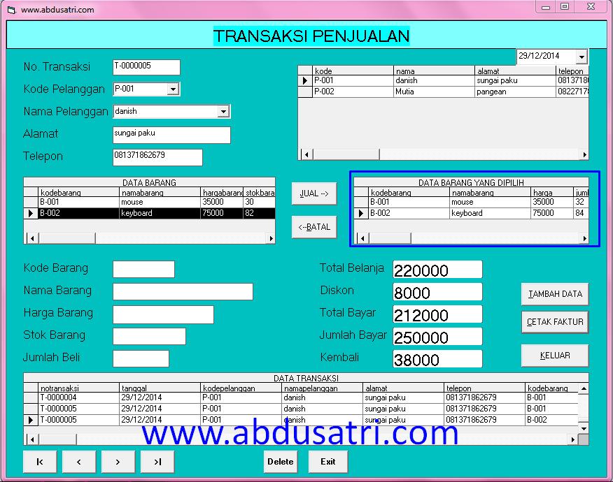 contoh aplikasi cetak faktur di VB