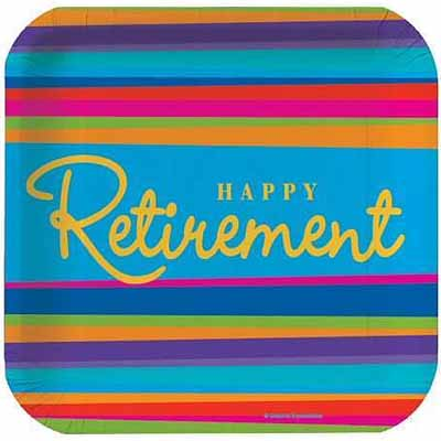 ... design is a bright pattern featuring Happy Retirement against a striped background in banners centerpiece cutouts party invitations paper plates and ...  sc 1 st  Party World\u0027s Blog - Party Planning and Ideas & Party World\u0027s Blog - Party Planning and Ideas: Retirement Party Supplies