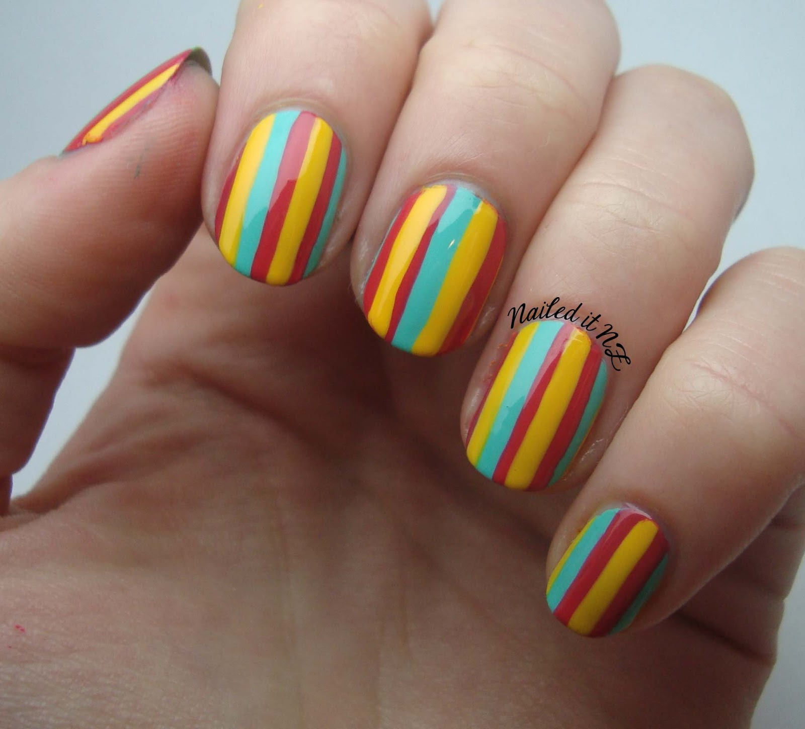 Nail Art For Short Nails 5 Striped Nails
