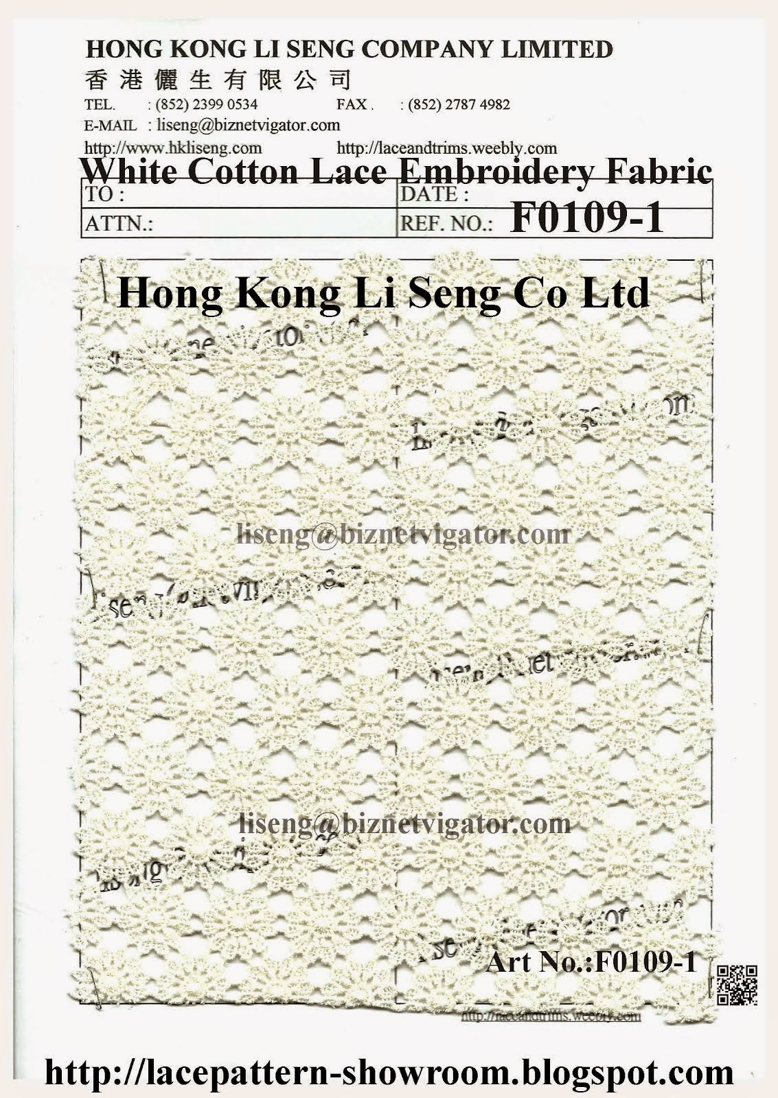 White Cotton Lace Embroidery Fabric Manufactory  - Hong Kong Li Seng Co Ltd