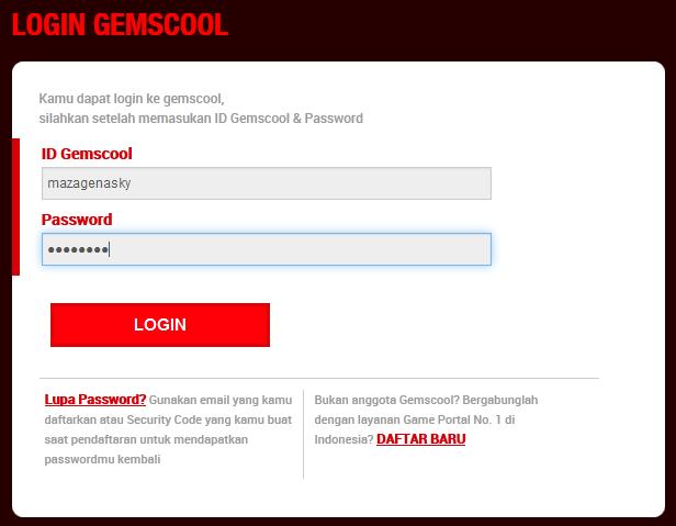 Cara Login dengan User Name dan Password Gemscool