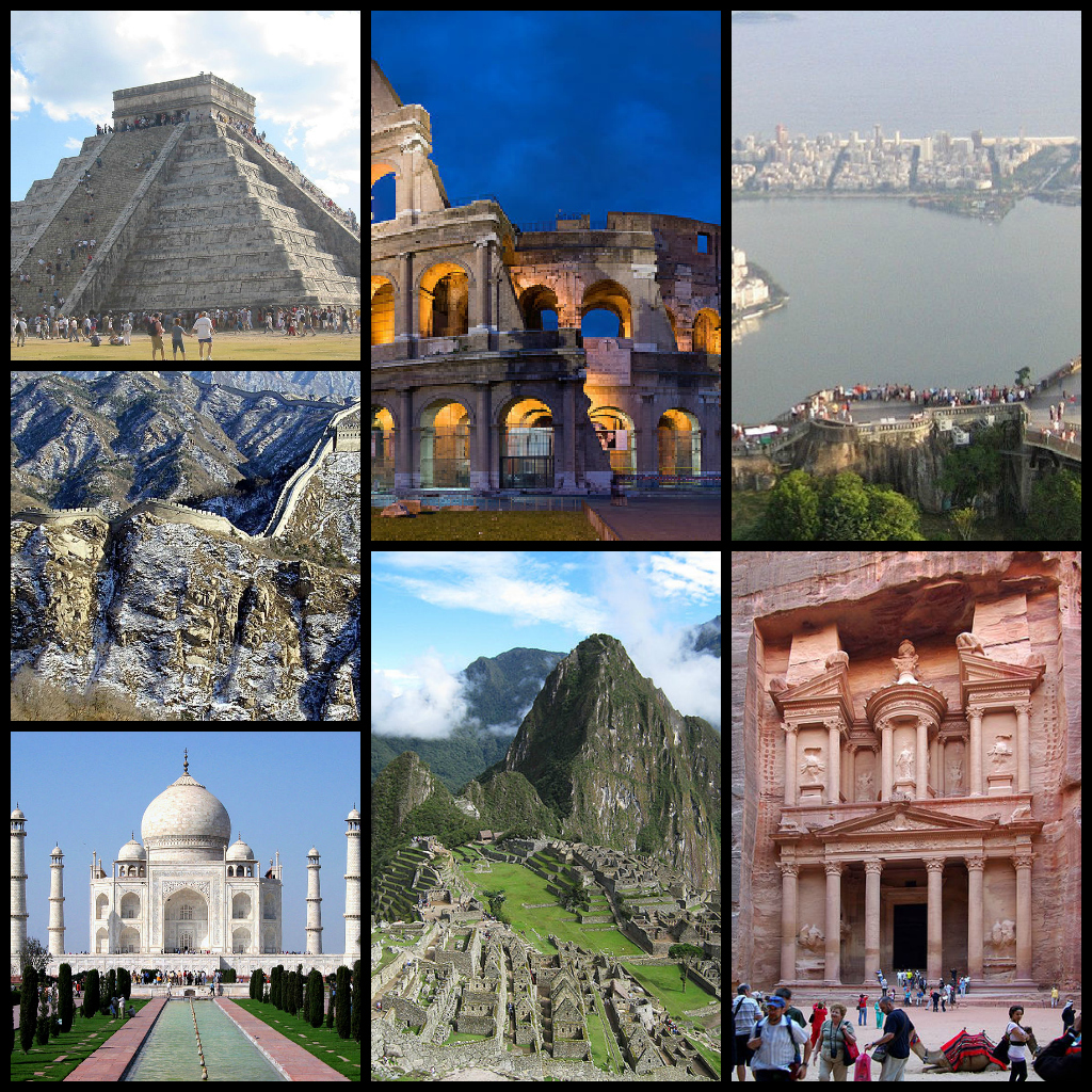 7 wonders in world In 2007, more than 100 million people voted to declare the new seven wonders of the world the following list of seven winners is presented without ranking, and aims to represent global heritage great wall of china (china) built between the 5th century bc and the 16th century, the great wall of.