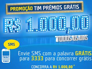 """Promoção  """"Tim Prêmios Grátis"""""""