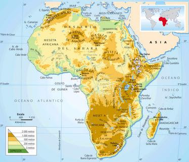Dibujo del Mapa Físico de Africa