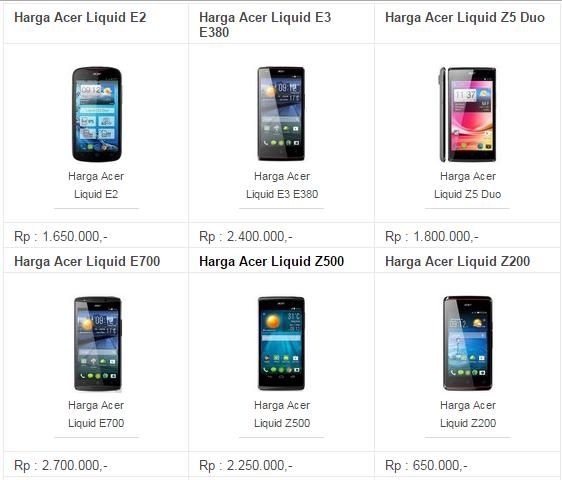 Daftar Harga Hp Android Acer Terbaru