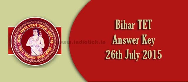 Bihar TET Answer Key 2015 Paper 1 2 26th July